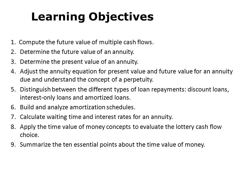 Learning Objectives 1. Compute the future value of multiple cash flows. 2. Determine the future value of an annuity.
