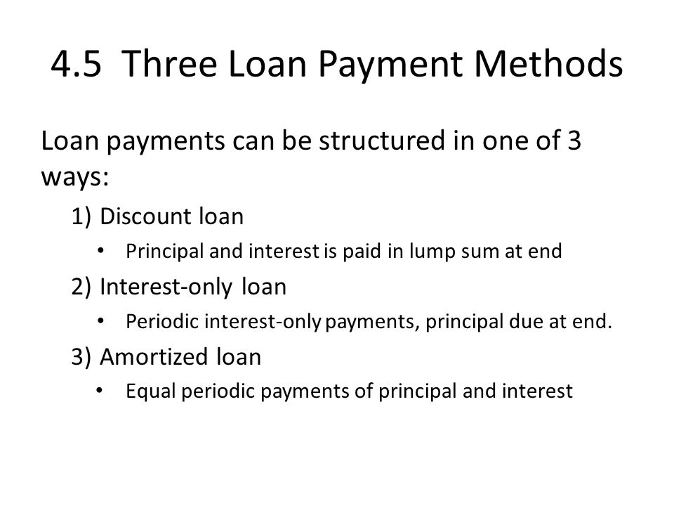 4.5 Three Loan Payment Methods