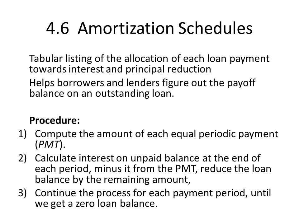 4.6 Amortization Schedules