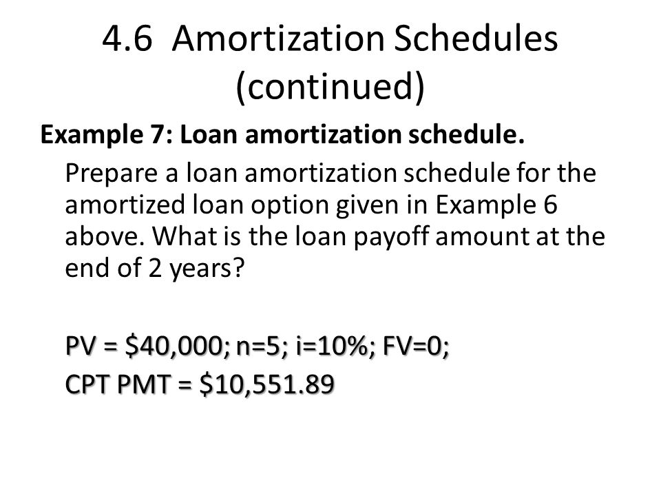 4.6 Amortization Schedules (continued)
