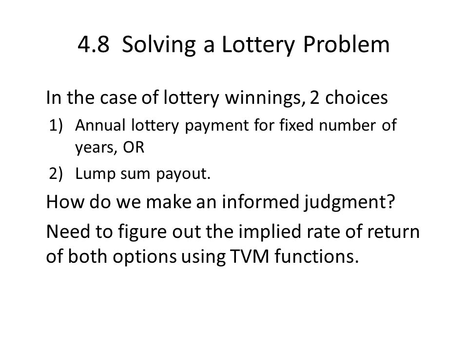4.8 Solving a Lottery Problem