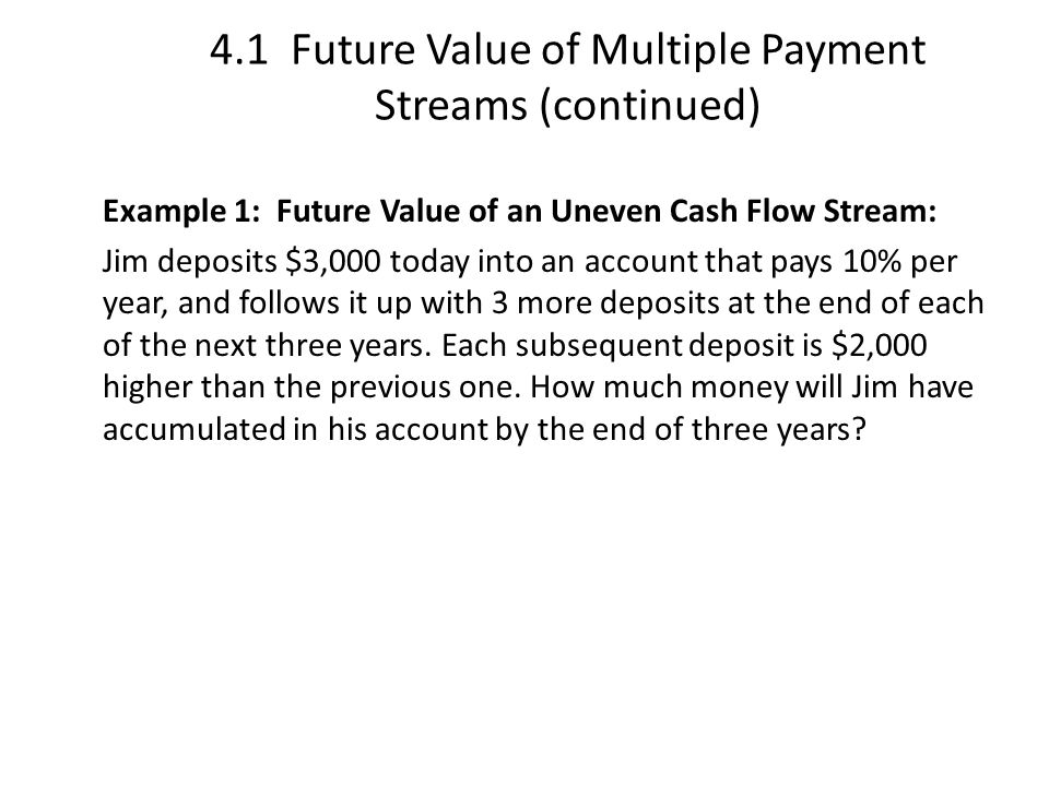 4.1 Future Value of Multiple Payment Streams (continued)