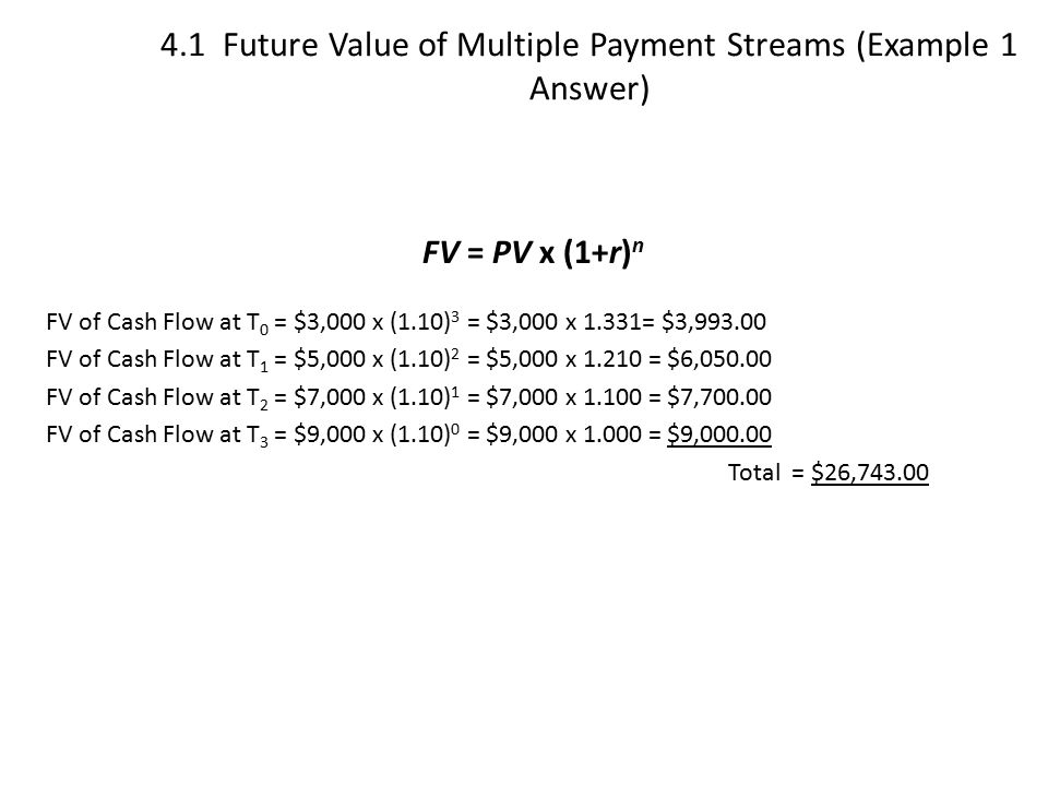 4.1 Future Value of Multiple Payment Streams (Example 1 Answer)