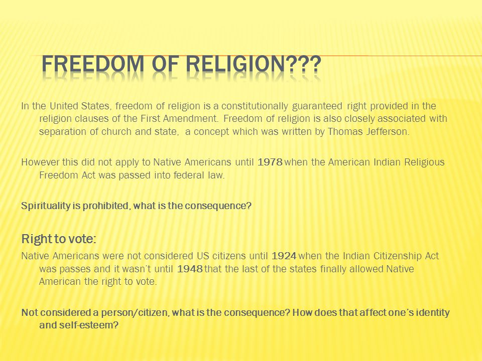 Freedom of Religion Right to vote: