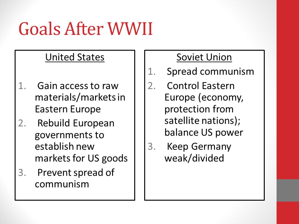 Goals After WWII United States