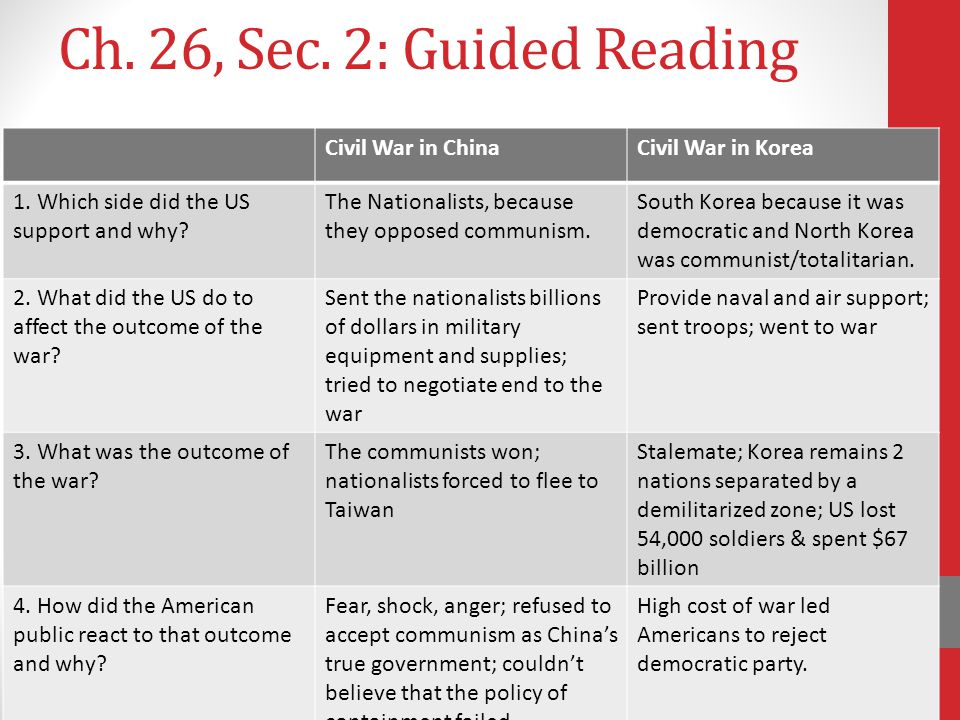Ch. 26, Sec. 2: Guided Reading Civil War in China Civil War in Korea