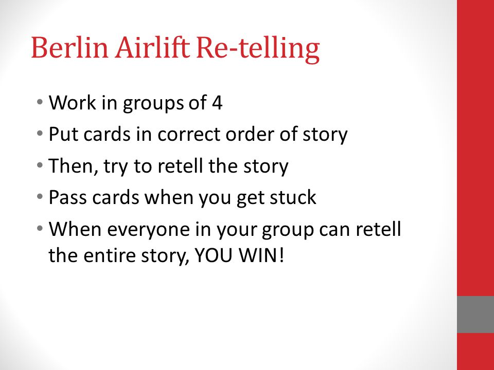 Berlin Airlift Re-telling