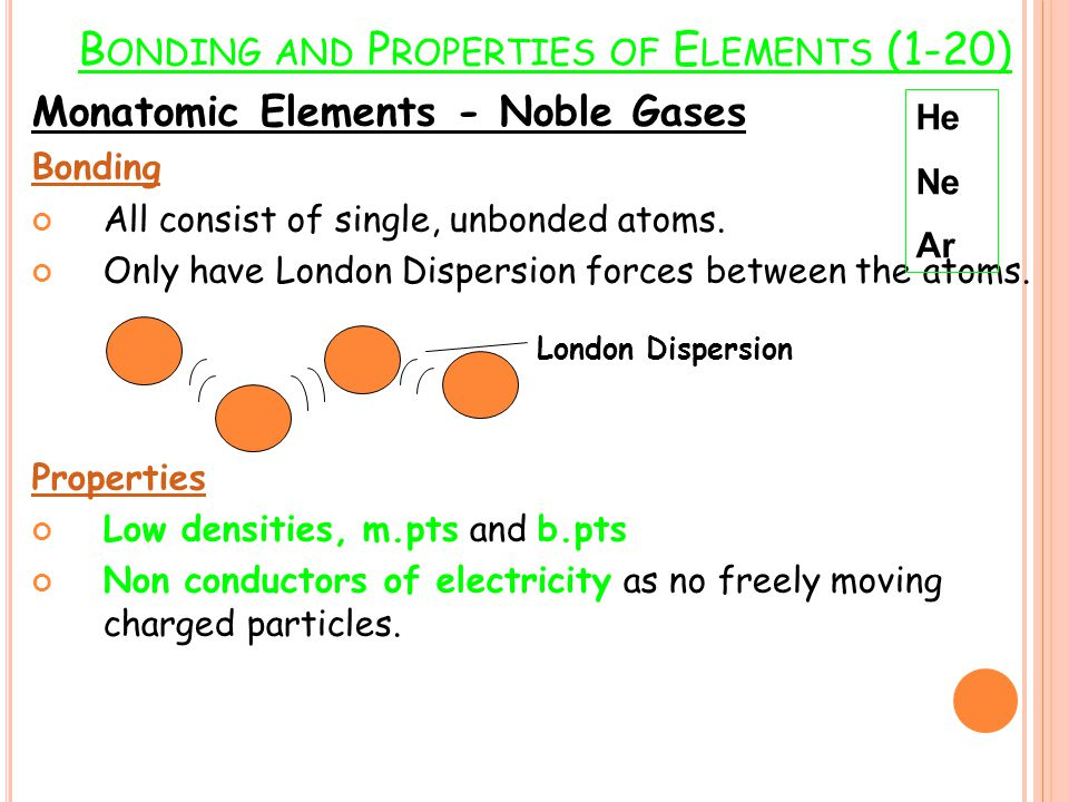 Bonding and Properties of Elements (1-20)