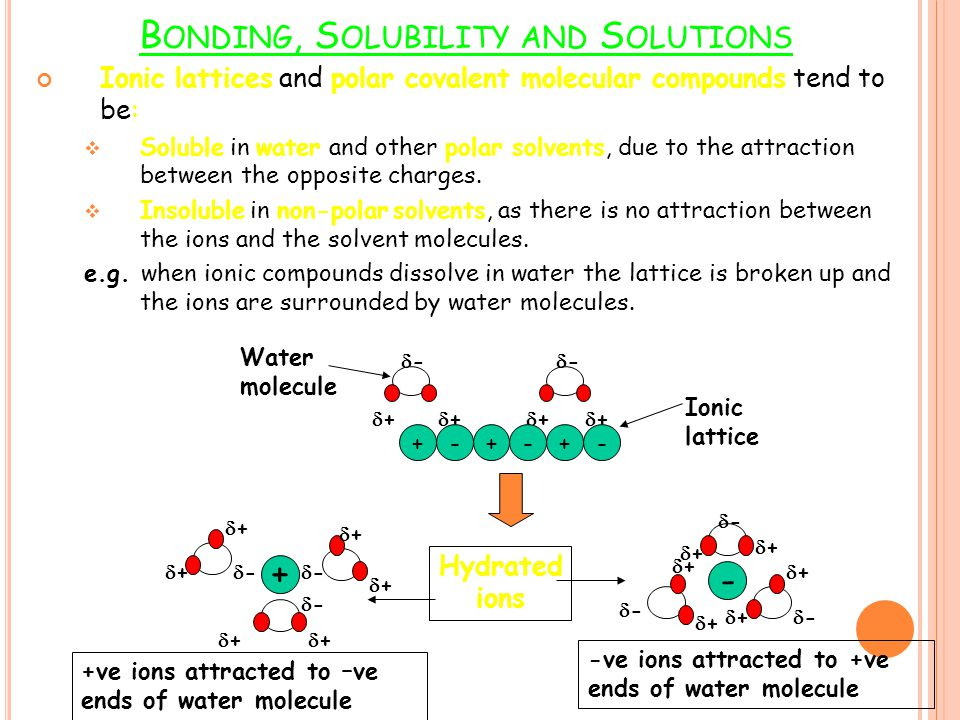 Bonding, Solubility and Solutions