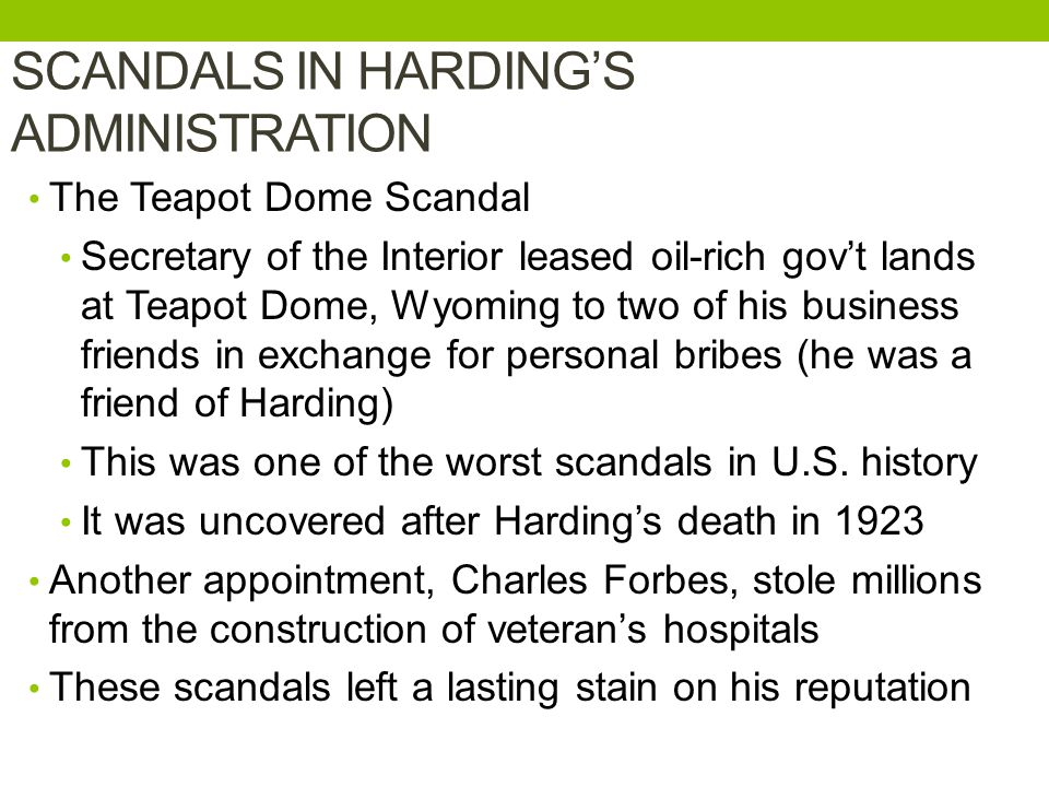 SCANDALS IN HARDING'S ADMINISTRATION