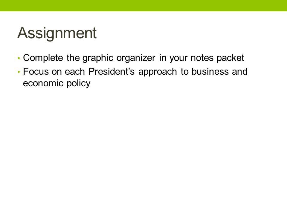 Assignment Complete the graphic organizer in your notes packet