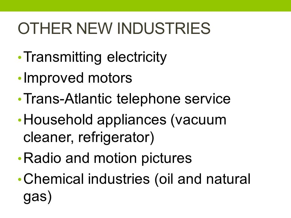 OTHER NEW INDUSTRIES Transmitting electricity Improved motors