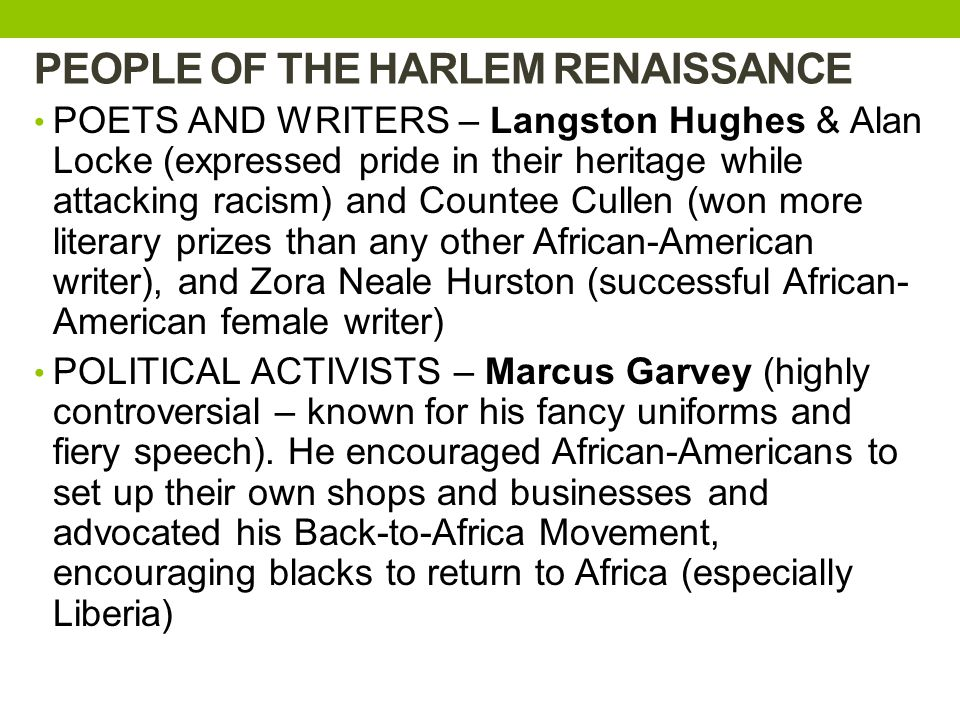PEOPLE OF THE HARLEM RENAISSANCE