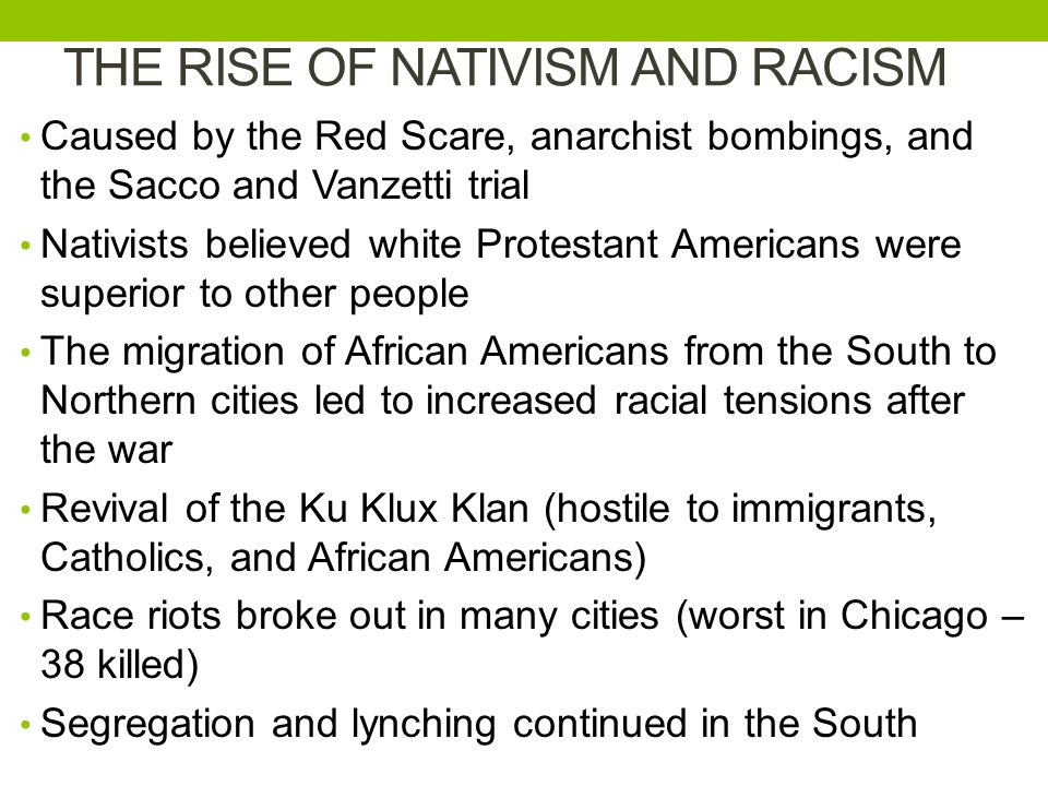 THE RISE OF NATIVISM AND RACISM