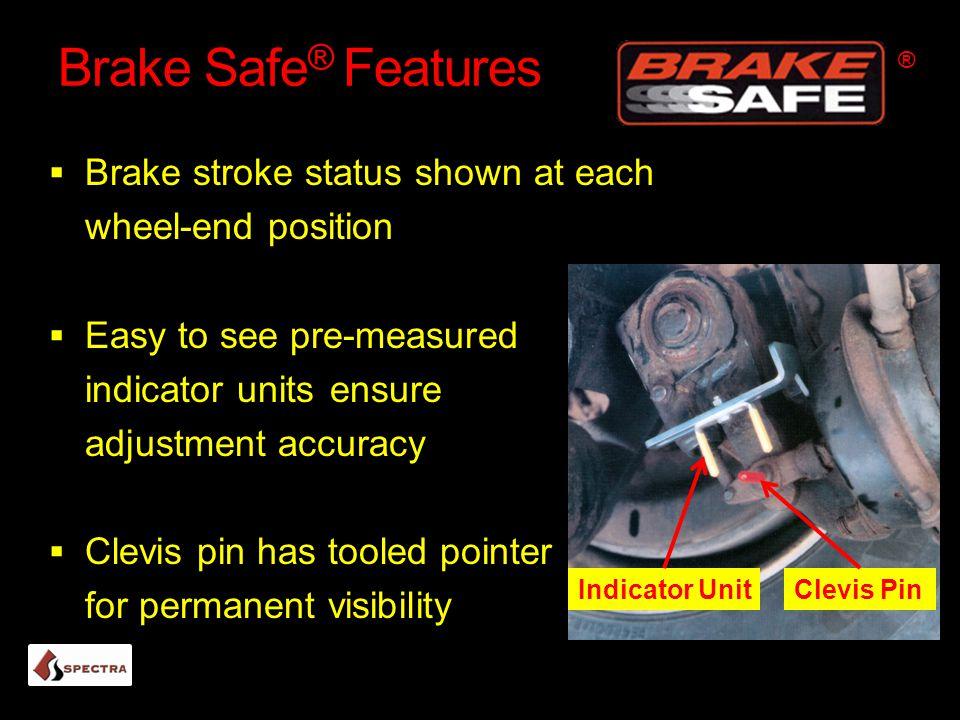 Brake Safe® Features Brake stroke status shown at each