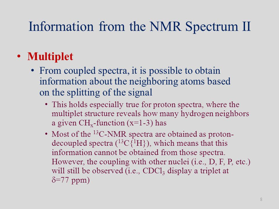 Information from the NMR Spectrum II