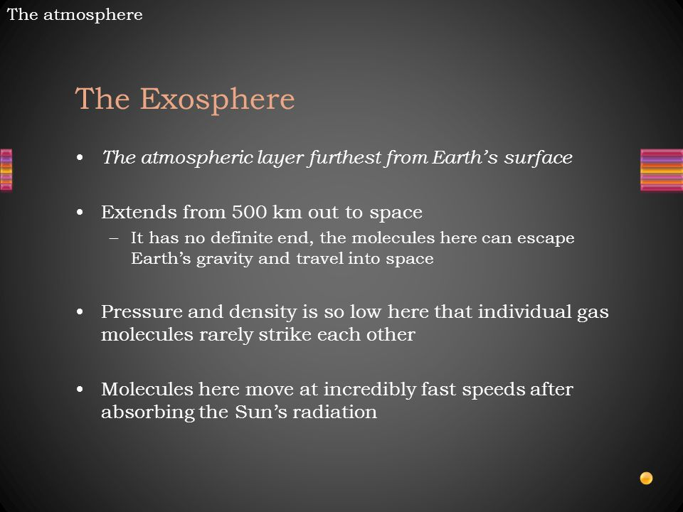 The Exosphere The atmospheric layer furthest from Earth's surface