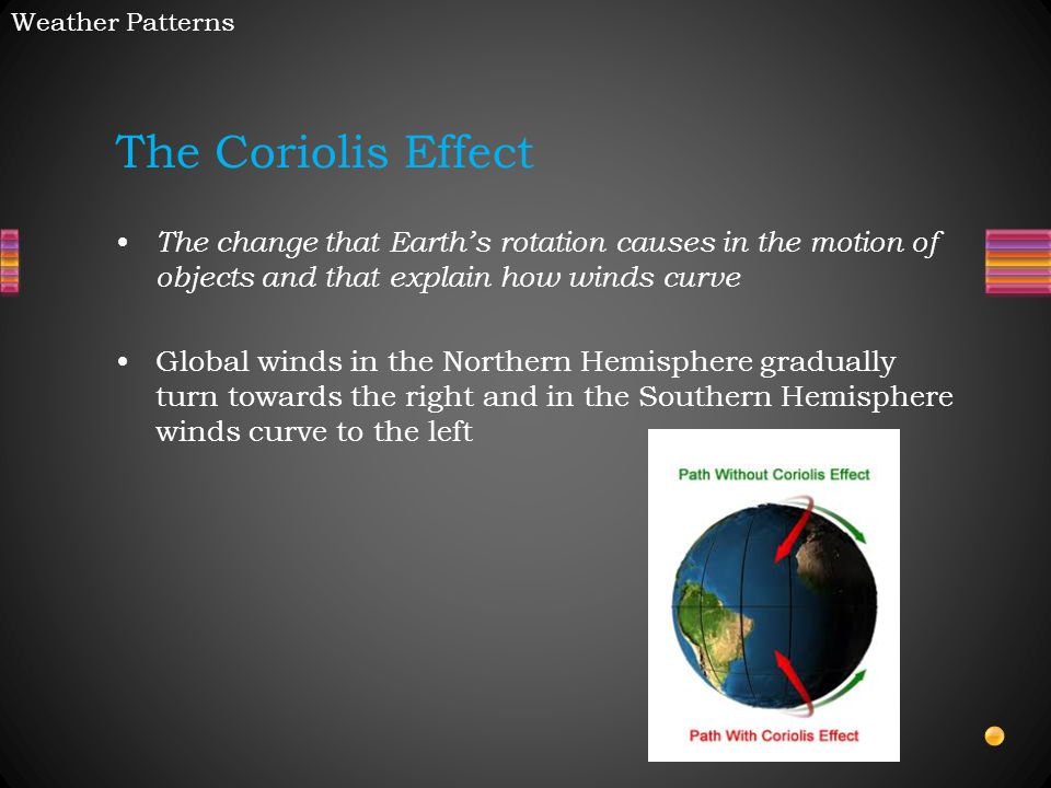 Weather Patterns The Coriolis Effect. The change that Earth's rotation causes in the motion of objects and that explain how winds curve.