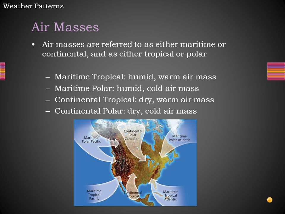 Weather Patterns Air Masses. Air masses are referred to as either maritime or continental, and as either tropical or polar.