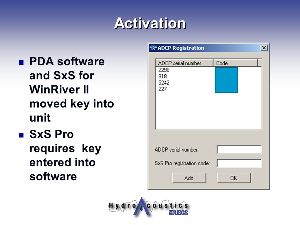 Activation PDA software and SxS for WinRiver II moved key into unit