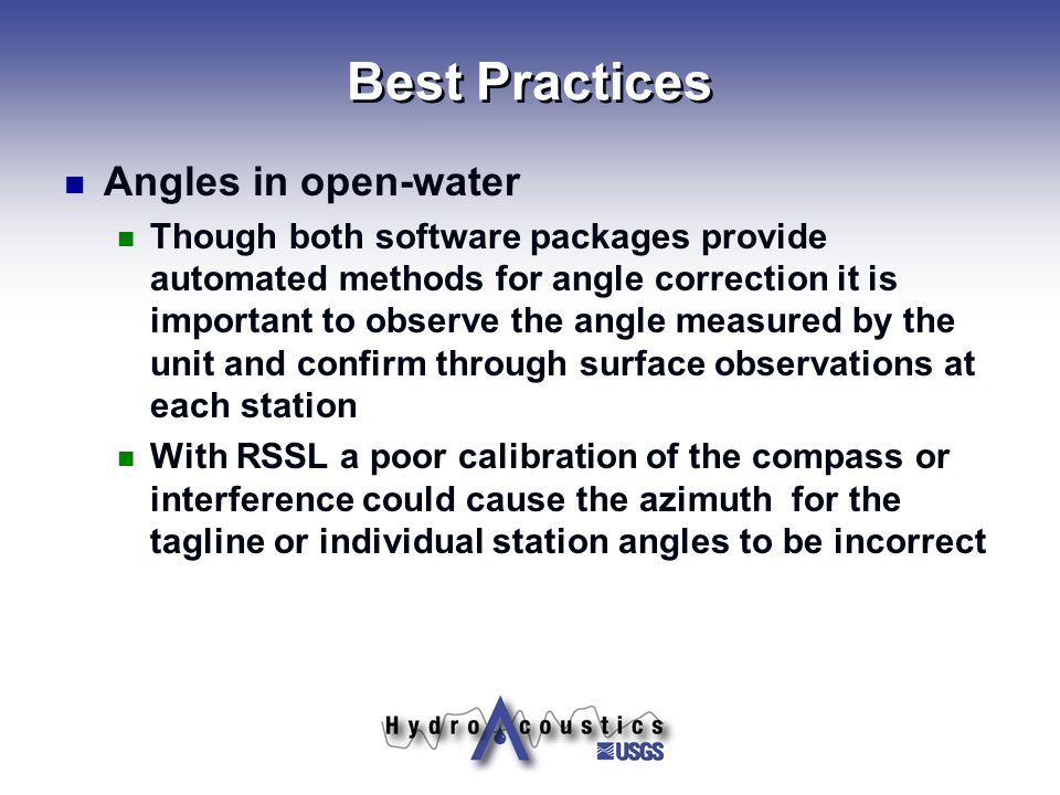 Best Practices Angles in open-water