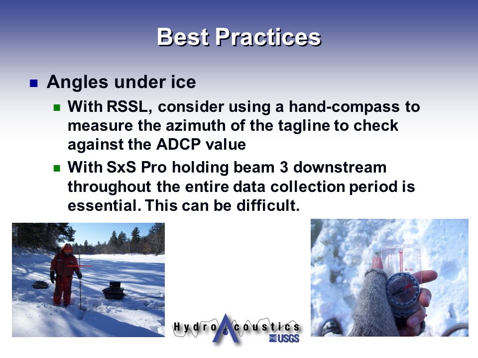Best Practices Angles under ice