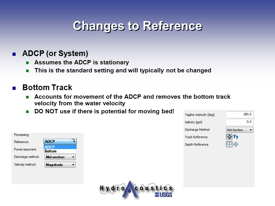 Changes to Reference ADCP (or System) Bottom Track