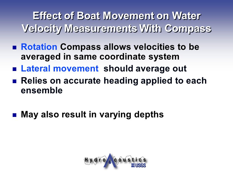 Effect of Boat Movement on Water Velocity Measurements With Compass
