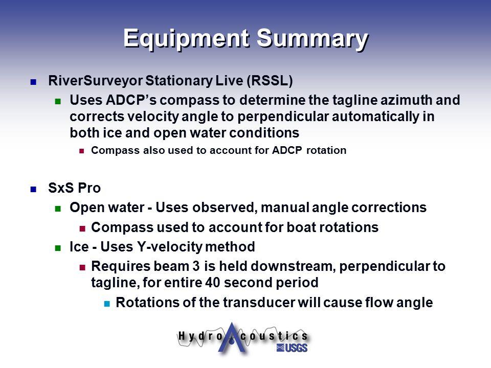 Equipment Summary RiverSurveyor Stationary Live (RSSL)
