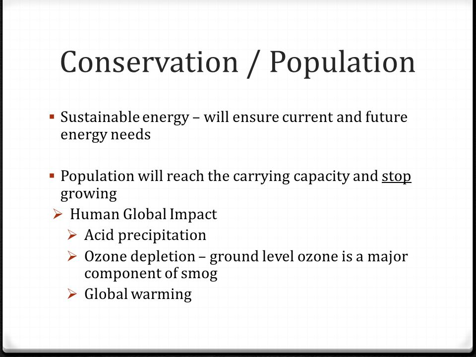 Conservation / Population