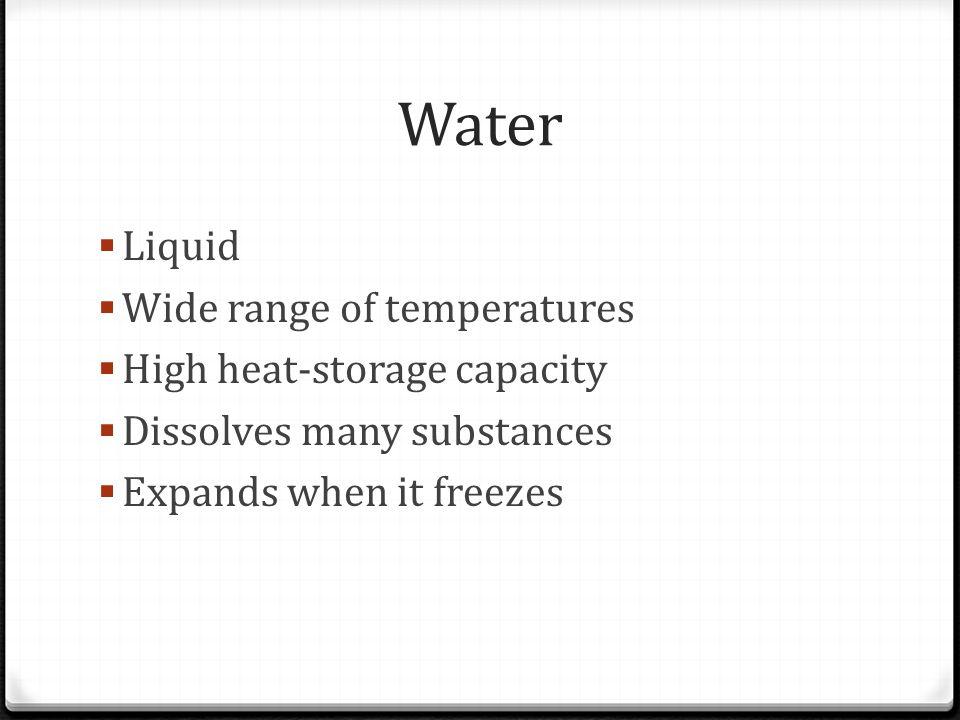 Water Liquid Wide range of temperatures High heat-storage capacity