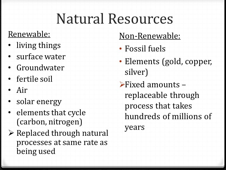 Natural Resources Non-Renewable: Fossil fuels
