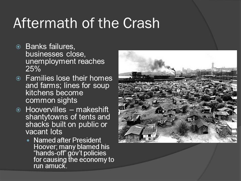 Aftermath of the Crash Banks failures, businesses close, unemployment reaches 25%