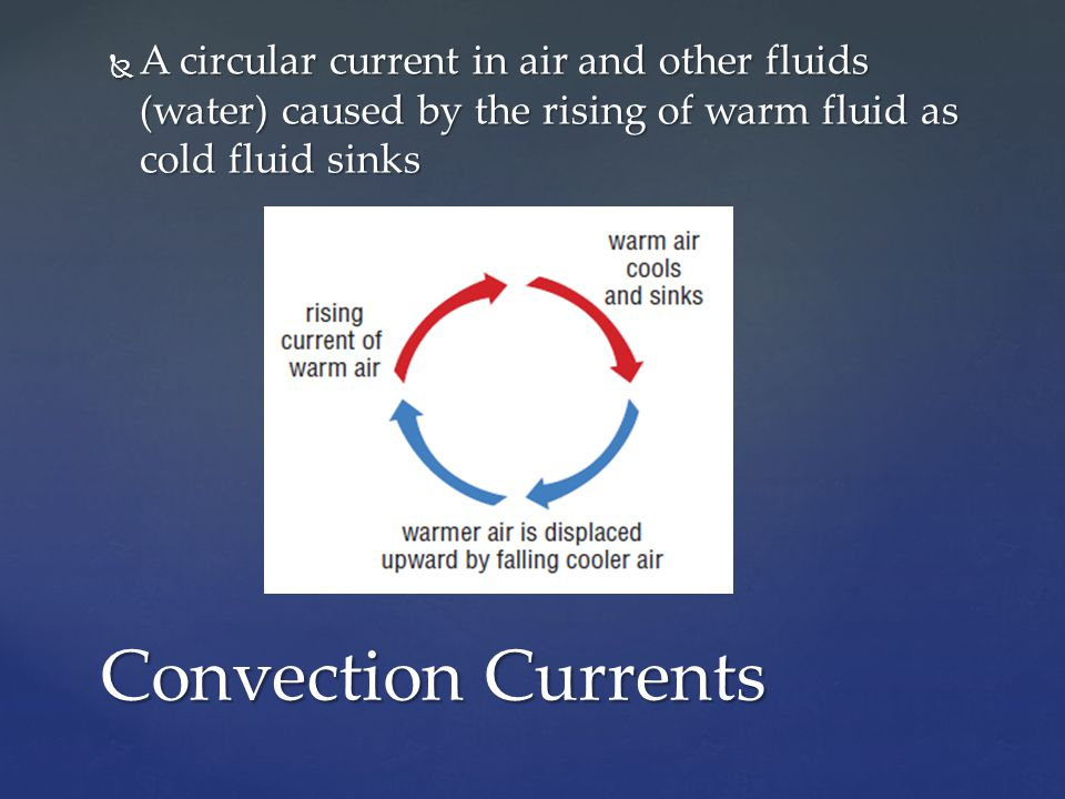 A circular current in air and other fluids (water) caused by the rising of warm fluid as cold fluid sinks