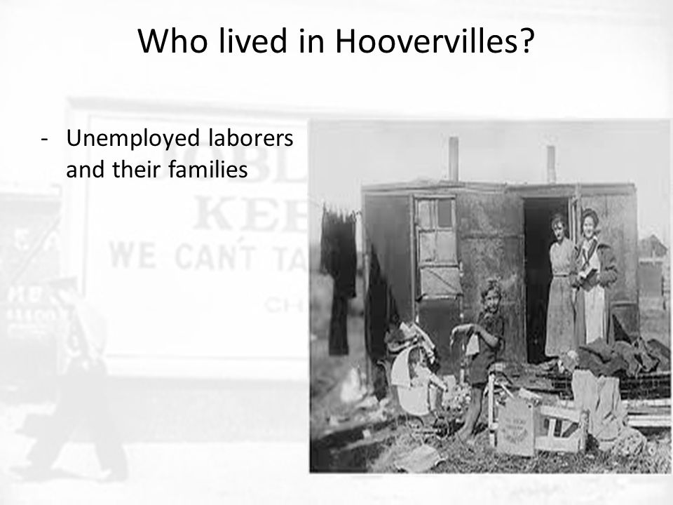 Who lived in Hoovervilles