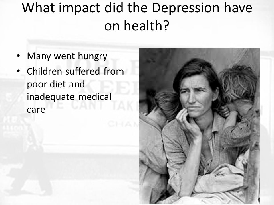 What impact did the Depression have on health