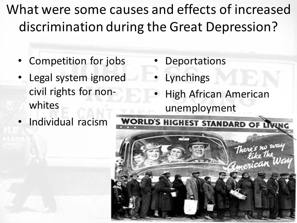 What were some causes and effects of increased discrimination during the Great Depression