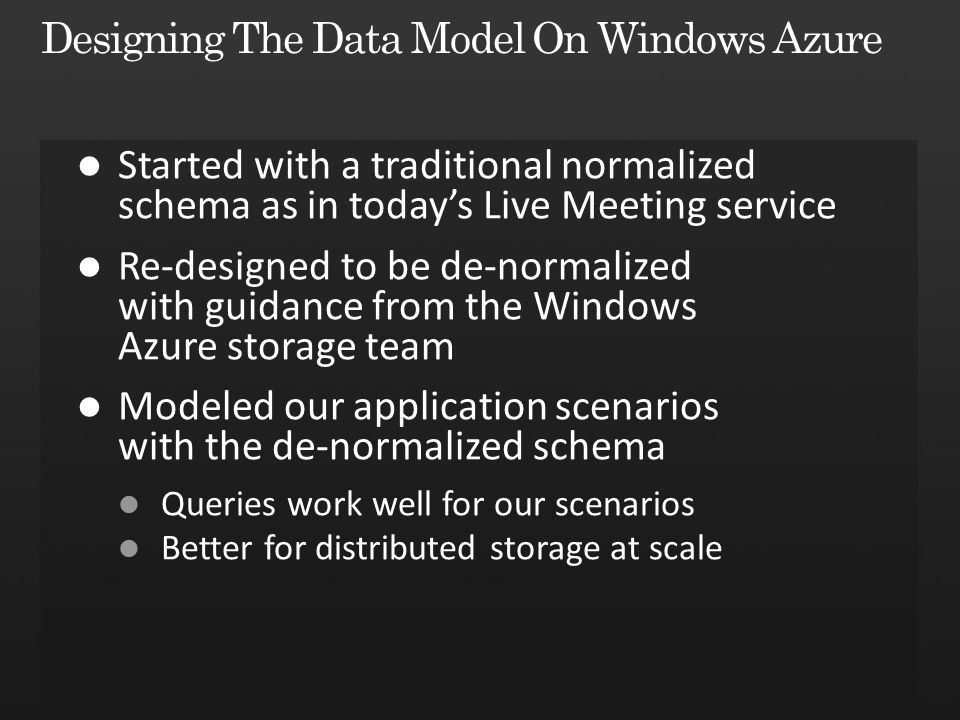 Designing The Data Model On Windows Azure