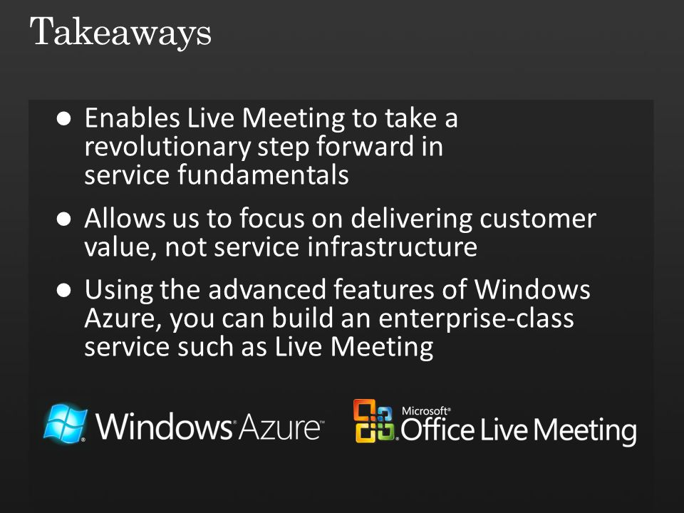 Takeaways Enables Live Meeting to take a revolutionary step forward in service fundamentals.