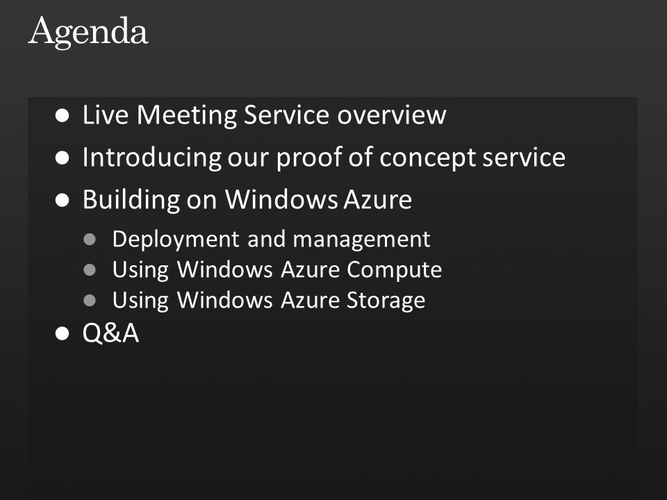 Agenda Live Meeting Service overview