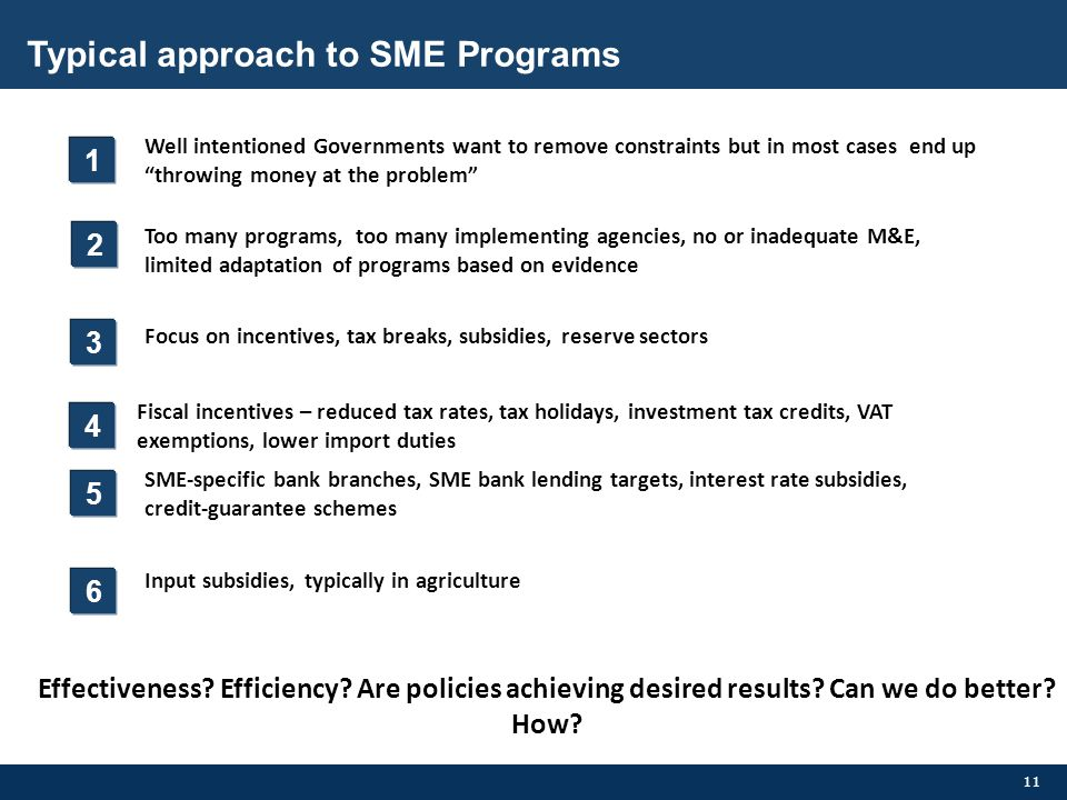 Typical approach to SME Programs