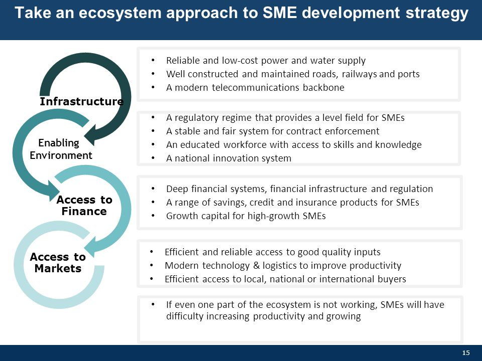 Take an ecosystem approach to SME development strategy
