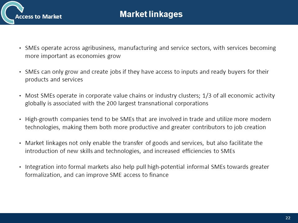 Market linkages Access to Market