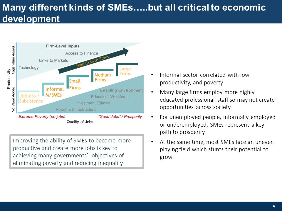 Many different kinds of SMEs…..but all critical to economic development