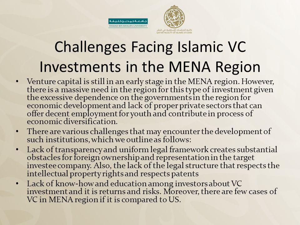 Challenges Facing Islamic VC Investments in the MENA Region