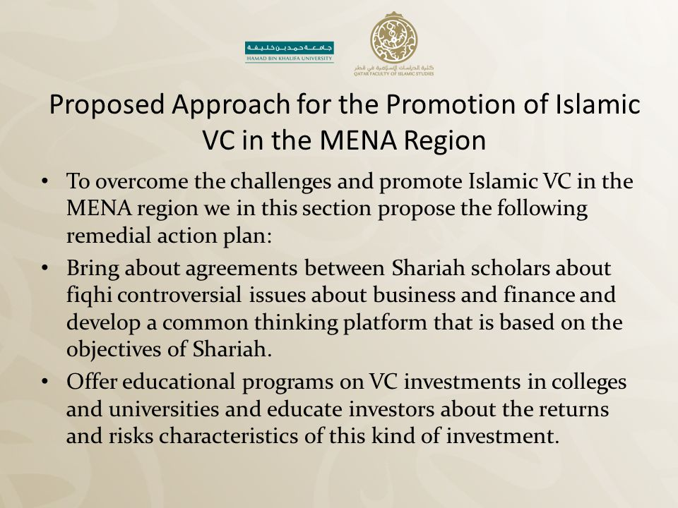 Proposed Approach for the Promotion of Islamic VC in the MENA Region