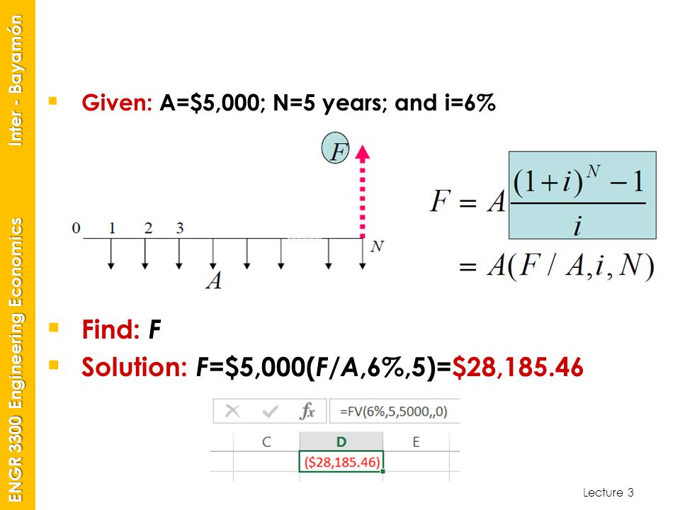 Solution: F=$5,000(F/A,6%,5)=$28,185.46