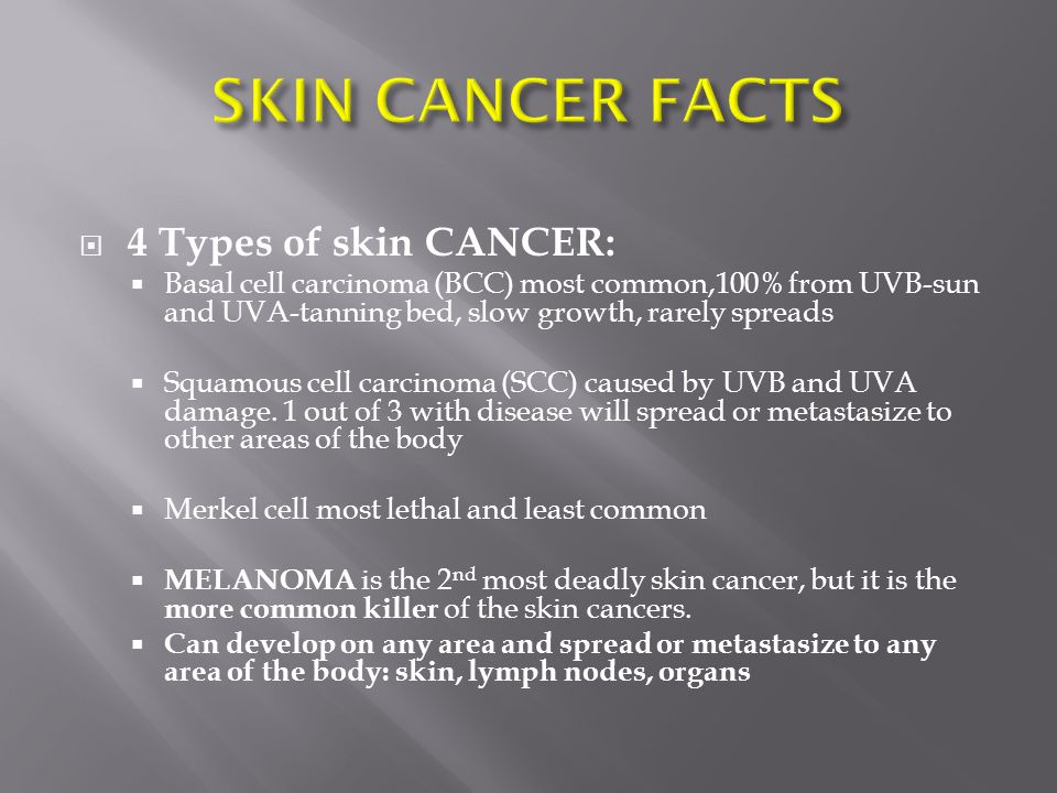 SKIN CANCER FACTS 4 Types of skin CANCER: