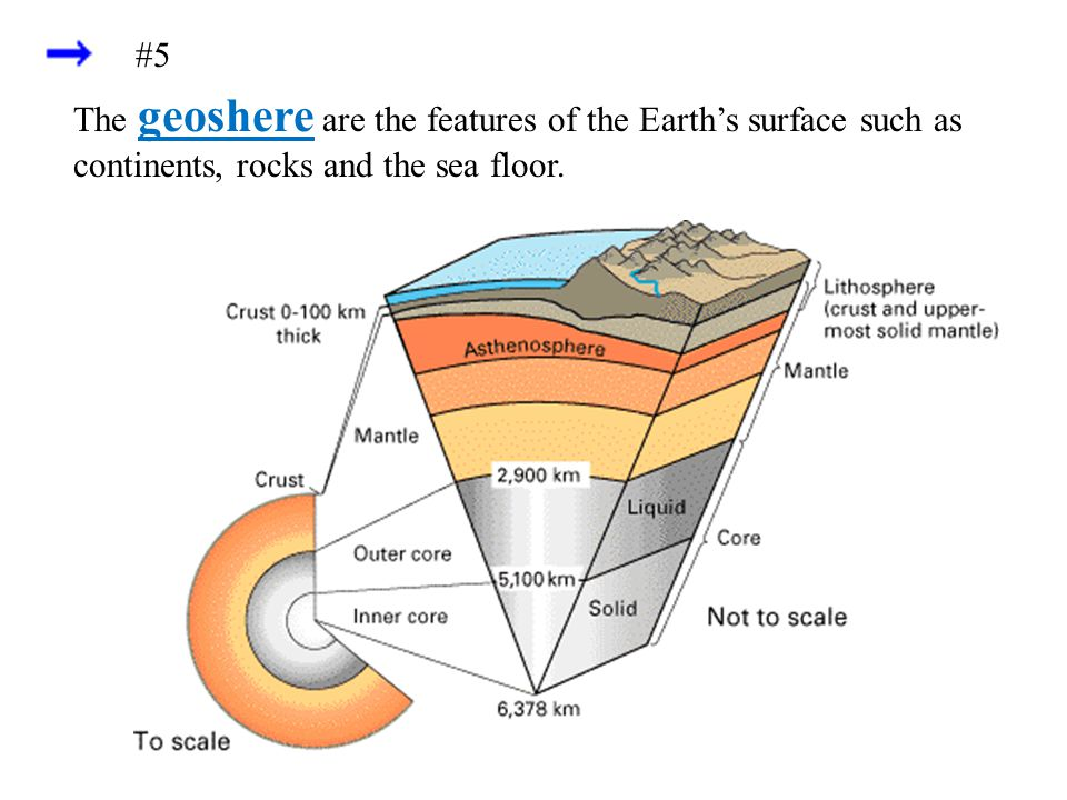 #5 The geoshere are the features of the Earth's surface such as continents, rocks and the sea floor.