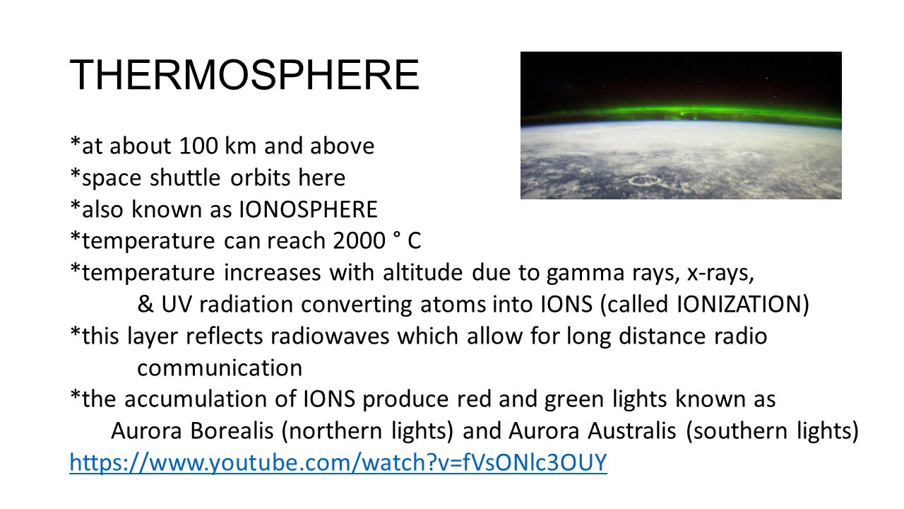 THERMOSPHERE *at about 100 km and above *space shuttle orbits here